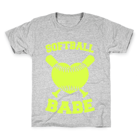 Softball Babe (neon yellow) Kids T-Shirt