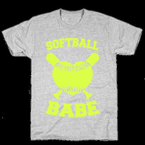 Softball Babe (neon yellow) Mens T-Shirt