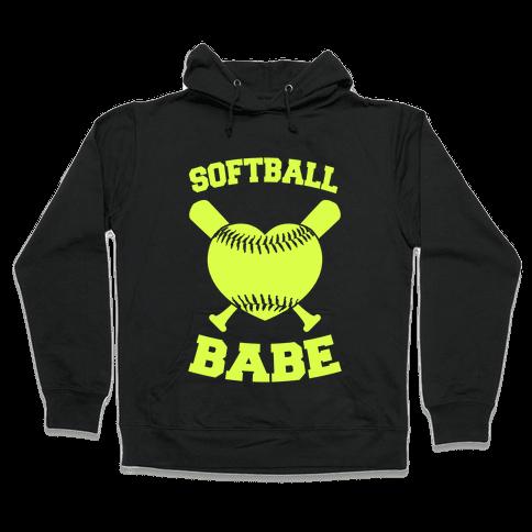 Softball Babe (neon yellow) Hooded Sweatshirt