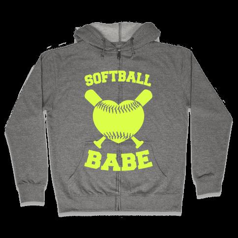 Softball Babe (neon yellow) Zip Hoodie