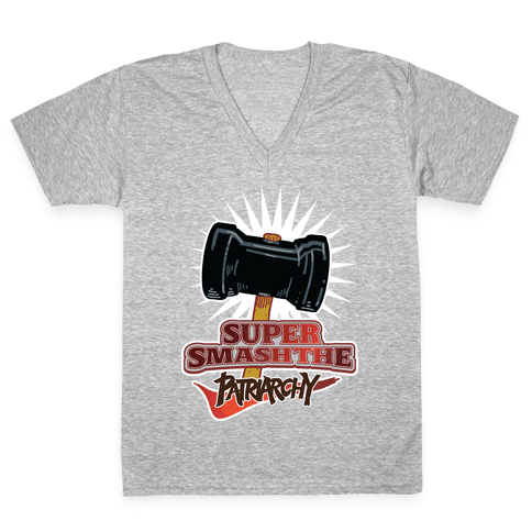 Super Smash The Patriarchy V-Neck Tee Shirt