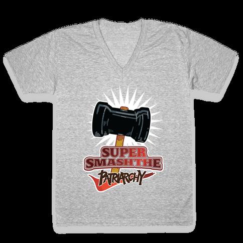 Super Smash The Patriarchy V-Neck Tee Shirt
