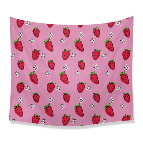 Sketchy Strawberry Pattern Tapestry