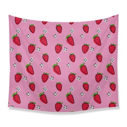 Sketchy Strawberry Pattern Tapestry