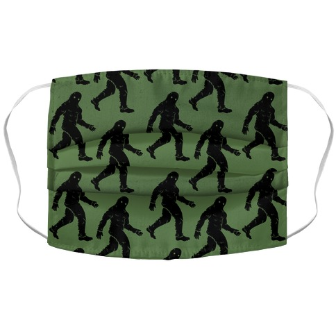 Big Foot Pattern Green Accordion Face Mask