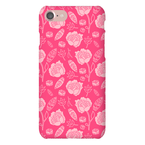Floral and Leaves Pattern (Pink) Phone Case
