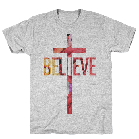 Believe (Floral) Mens T-Shirt