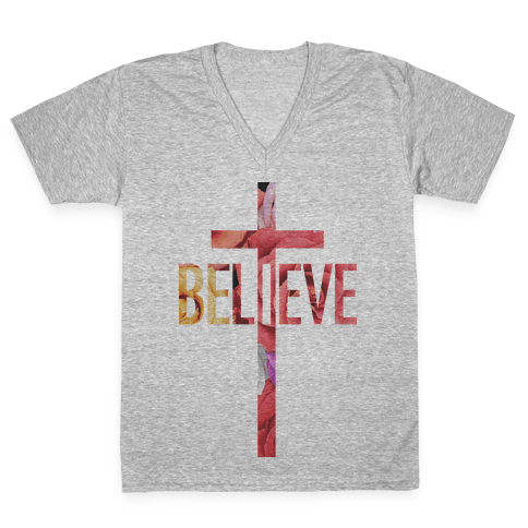 Believe (Floral) V-Neck Tee Shirt