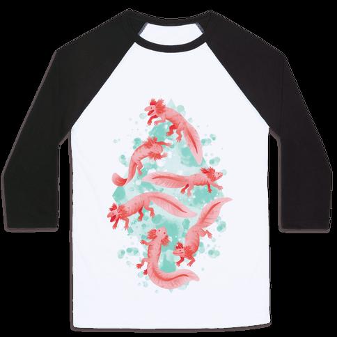 Cute Pastel Axolotls Baseball Tee