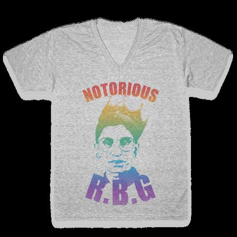 Rainbow Notorious R.B.G. V-Neck Tee Shirt
