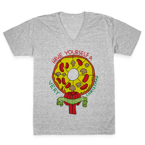 PIZZA WREATH V-Neck Tee Shirt