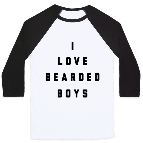 I Love Bearded Boys Baseball Tee