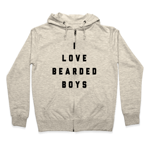 I Love Bearded Boys Zip Hoodie