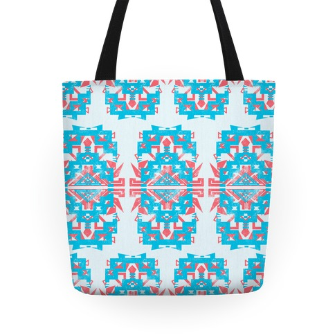 Teal and Red Aztec Pattern Tote