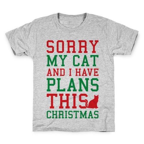 sorry i have plans with my cat this christmas t shirt
