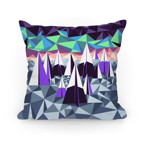 Geometric Winter Mountains and the Northern Lights Pillow