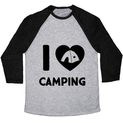 I Heart Camping Baseball Tee