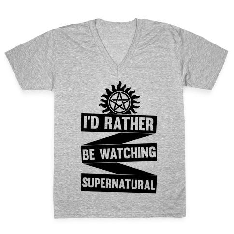 I'd Rather Be Watching Supernatural V-Neck Tee Shirt