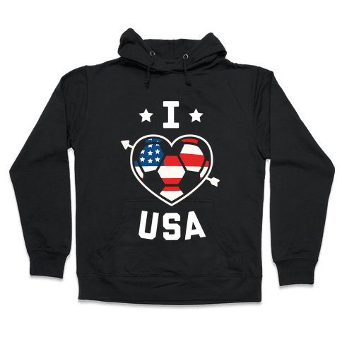 I Love USA (Soccer) Hooded Sweatshirt