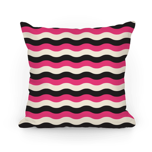 Pink Cream Black Stripe Pillow Pillow