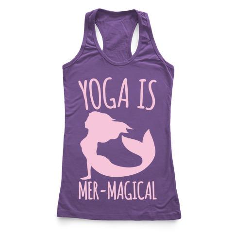 Yoga Is Mer-Magical White Print Racerback Tank Top