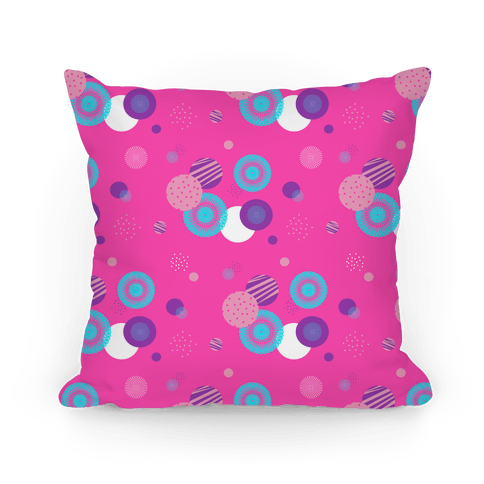 Pink Radials and Circles Pattern Pillow