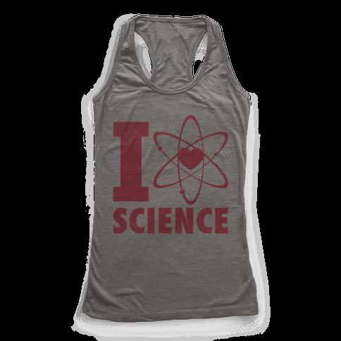 I Love Science (Atom Heart) Racerback Tank Top