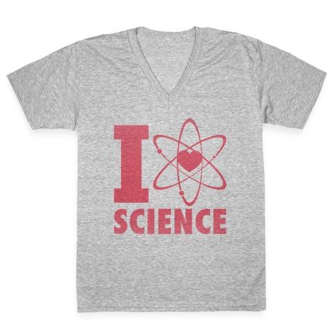 I Love Science (Atom Heart) V-Neck Tee Shirt