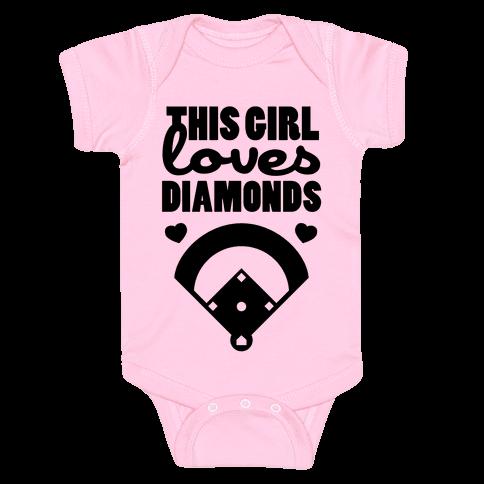 This Girl Loves (Baseball) Diamonds Baby Onesy