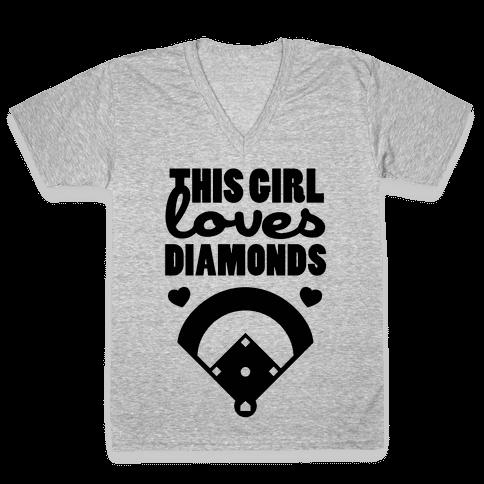This Girl Loves (Baseball) Diamonds V-Neck Tee Shirt