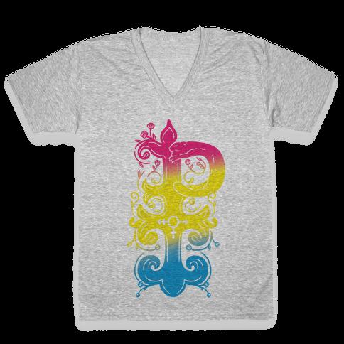 Pansexual Pride Monogram V-Neck Tee Shirt