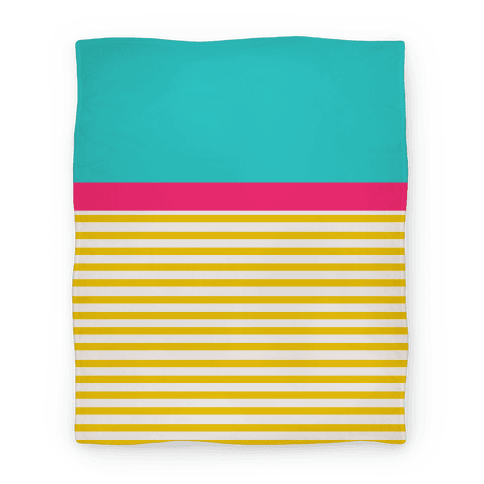 Yellow And Pink Color Block Stripe Blanket