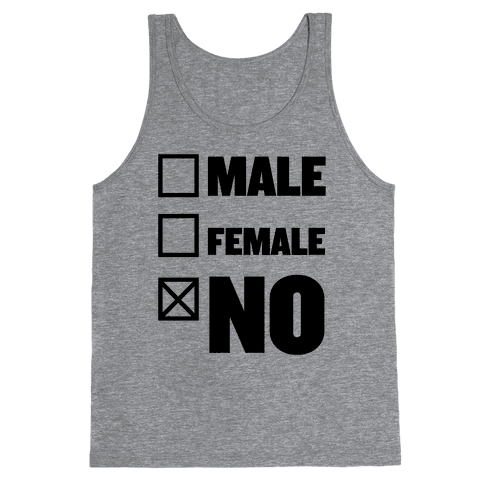 Male, Female, No Tank Top