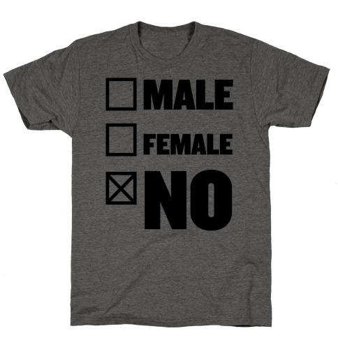 Male, Female, No T-Shirt