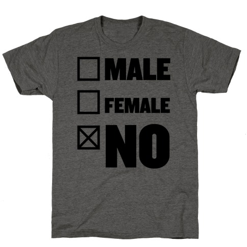 Male, Female, No T-Shirt