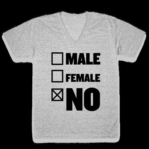 Male, Female, No V-Neck Tee Shirt