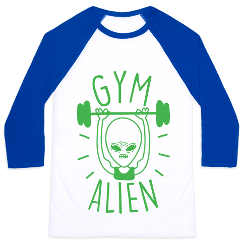 Gym Alien Lifting Baseball Tee