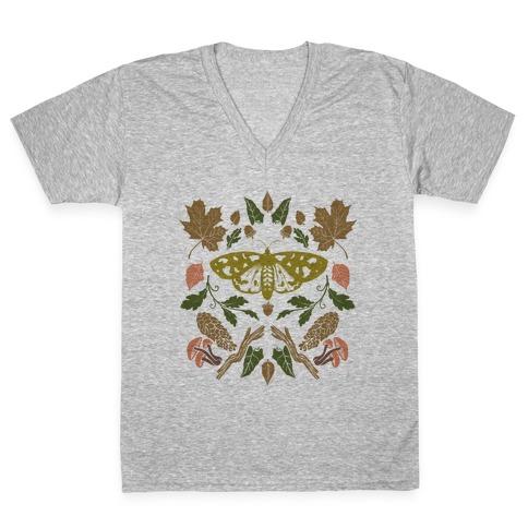Woodland Moth V-Neck Tee Shirt