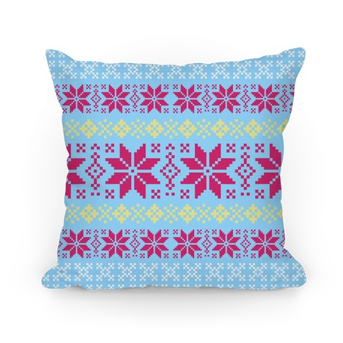 Sweater Pattern Print Light Blue Pillow