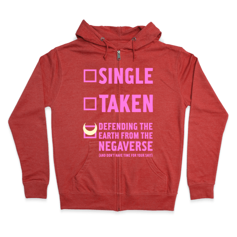 Single, Taken, Sailor Moon Zip Hoodie