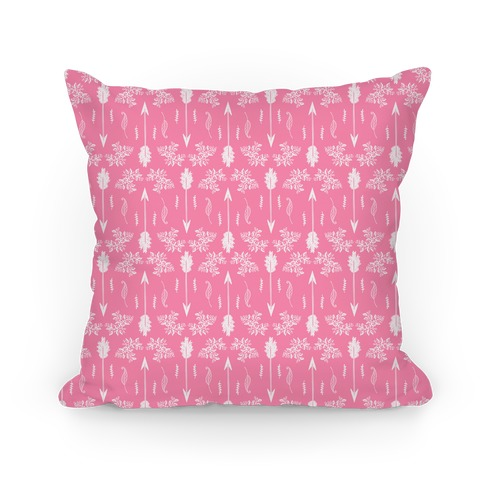 Pink Floral Arrow Pattern Pillow
