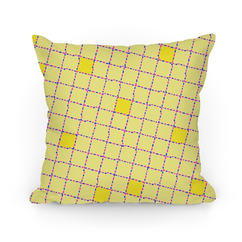 Yellow Dashed Checkers Pattern Pillow