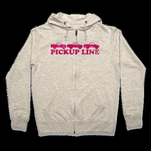 Pickup Line (pink) Zip Hoodie