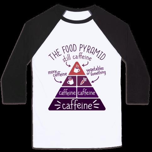 Coffee Food Pyramid Baseball Tee