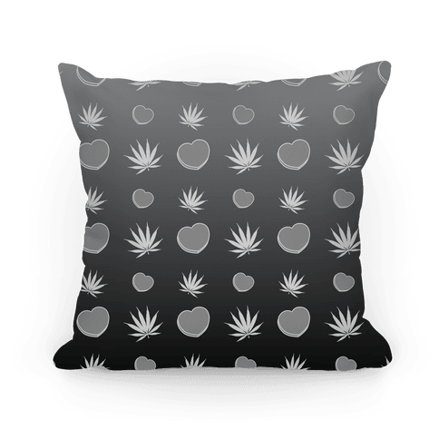 Weed and Hearts Black and White Ombre Pattern Pillow