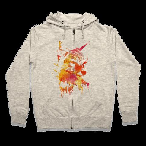 Watercolor Fox Zip Hoodie
