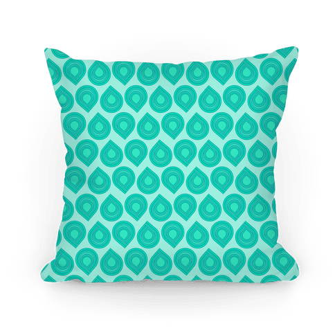 Retro Teal Tear Drop Pattern Pillow