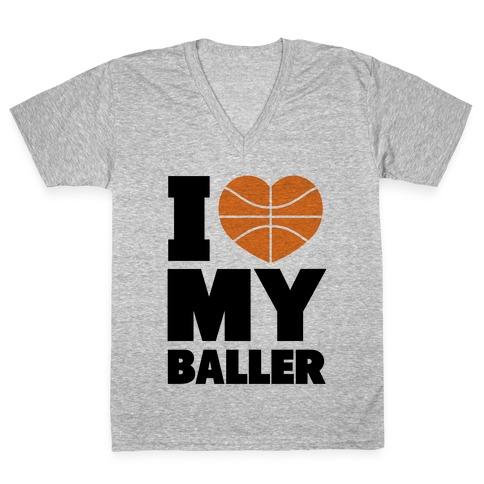I Love My Baller V-Neck Tee Shirt