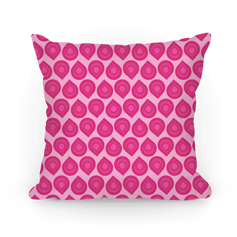 Retro Pink Tear Drop Pattern Pillow