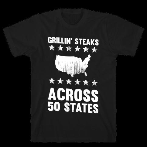 Grillin' Steaks Across 50 States Mens T-Shirt